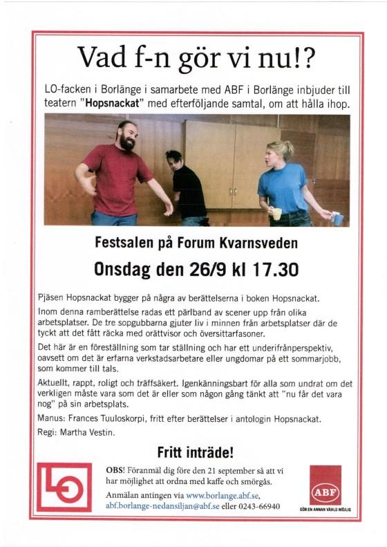 2018-09-26 Borlänge Hopsnackat Affisch
